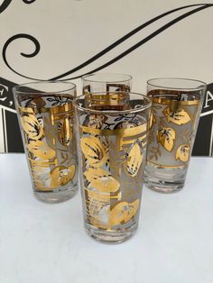 Excited to share this item from my #etsy shop: Vintage, MCM, Retro Gold Leave, Tumbler Glasses, Rare Set of 4, Metallic Gold and Frosted Drinking Glasses, Excellent, Vintage Condition #clear #gold #glass #vintageglassset #metallicgolddesign #goldleaftumblers #mcmfrostedtumblers #vintagecocktailset #rareretroglasses