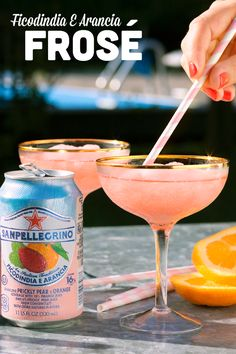 Frosé all day! Is it really summer without a frozen drink or two? Chill out with friends and this refreshing treat by blending rosé and Ficodindia E Arancia with ice. Made with real fruit juice from sun-ripened citrus, Sanpellegrino Sparkling Fruit Bevera Party Drinks, Fun Drinks, Yummy Drinks, Beverages, Yummy Food, Alcoholic Drinks, Sparkling Drinks, Cocktail Drinks, Cocktail Recipes