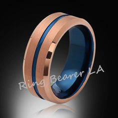 8mm,Brushed Satin,Rose Gold,BlueTungsten Ring,Matching Wedding Band,Blue Ring,Comfort Fit