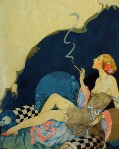 "kittyinva: "" Kittyinva: 1920′s Willy Pogany illustration for an unknown film for United Artists. From Grapefruit Moon Gallery. """