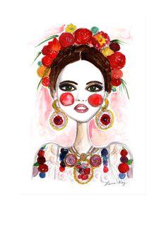 Frida Kahlo, Frida Art, Fashion illustration, Fashion print