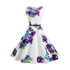 DressLily - Dresslily Vintage Sleeveless Printed Fit and Flare Dress - AdoreWe.com