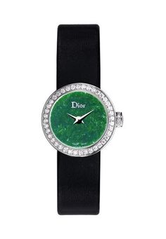 Mini D in white gold and diamonds, featuring jade green dial and satin strap. Dior Horlogerie.    www.diorhorlogerie.com