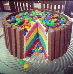 rainbow kitkat cake
