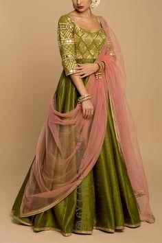 Olive & Pink Mirrorwork Anarkali Party Wear Indian Dresses, Designer Party Wear Dresses, Pakistani Dresses Casual, Indian Gowns Dresses, Indian Fashion Dresses, Party Wear Lehenga, Dress Indian Style, Pakistani Dress Design, Indian Designer Outfits