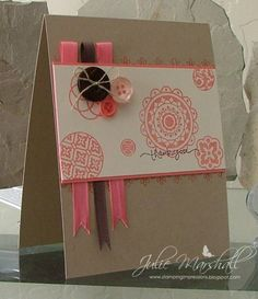 Love the ribbon accents in this one. Could be adapted to make a great wedding card.