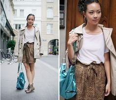 Copy Victoria J and add a bright Diesel Bag to muted beige and leopard print, Vienna #SuccessfullyStyled www.diesel.com/female