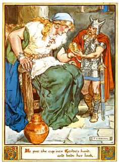 Skirnir returns the golden cup to Gerda