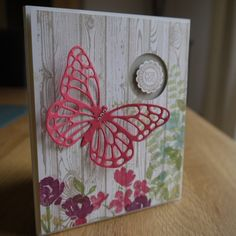 For You by Linda Parker, Hardwood Background Stamp, Butterfly Thinlits, Painted Petals and Backyard Basics.