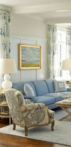 This kind of has it all for me: hardwood floors, wainscoting, beautiful ceiling. Not crazy about the blue though.