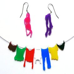 necklace and earrings set - laundry hanging on clothesline colorful