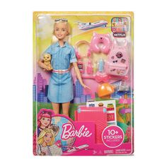Barbie Travel Doll & Accessories Set Barbie doll can take her puppy, and young dreamers, around the world with this travel-themed set. Inspired by Barbie Barbie Doll Set, Barbie Sets, Doll Clothes Barbie, Barbie I, Barbie And Ken, Doll Dresses, Barbies Dolls, Barbie Stuff, Toys For Girls