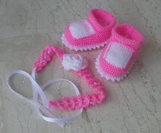 Baby Knit Booties and Headband set Baby shoes and by sankorra, $20.00