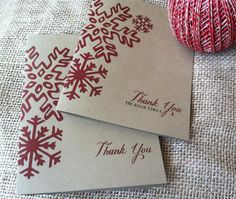 Thank You Note Cards - Family Name - Holidays - Christmas - Red - Winter - Snowflake - Recycled - Eco - Set of 8 Box Set - CUSTOM