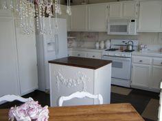 white shabby farmhouse kitchen | Not Shabby Kitchen, Dark Wood Floors with white eye catching kitchen ...