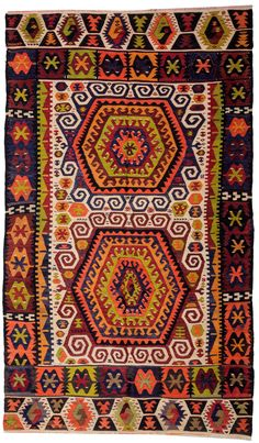 Antique Konya Hotamıs Kilim Rug woven with vegetable-dyed wool. This piece is more than 100 years old and in very good condition.Width:4' 10'' (147cm) - 8' 1''(246cm)Antique Kilims