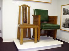 George Maher's architectural Rockledge dinning chiar and Percel-Emslie Merchants Bank boardroom chair.  Winona, Minnesota icons of design.  In the Collection of the Winona County History Center.