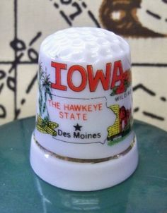 Vintage - Iowa - Souvenir Thimble -  Porcelain Sewing Collectible 1980's - Hawkeye State on Etsy, $3.00