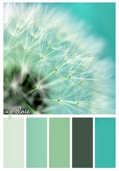 Gold On The Ceiling: color palette of turquoise green dark green teal mint celery dandelion art