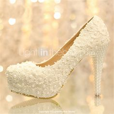 Women's Shoes Platform Stiletto Heel Pumps with Pearl Wedding Shoes More Colors available - USD $ 54.99