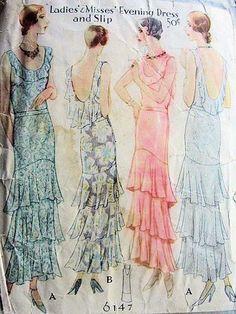 Evening dress and slip, 1930