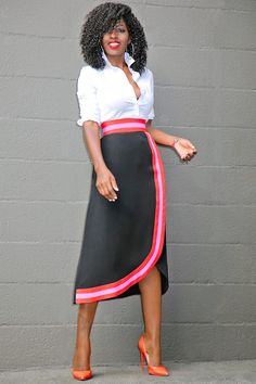 Style Pantry | Button Down Shirt + Contrast Wave Midi Skirt