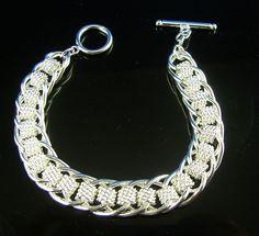 "Beautiful .925 Sterling Silver 8.5"" Links Bangle Bracelet MEN/WOMEN  FREE S&H #Bangle"