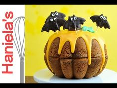 ▶ How To Make Halloween Pumpkin Cake, Chocolate Bat Toppers Tutorial - YouTube