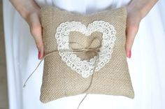 Burlap Ring pillow Bearer Pillow Ring Cushion with Heart Lace Ring pillow Woodland / Rustic / Cottage style by NatalysWeddingArt