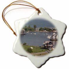 3dRose USA, Minnesota, Duluth, Duluth Harbor, Tall Ships - US24 PHA0164 - Peter Hawkins, Snowflake Ornament, Porcelain, 3-inch