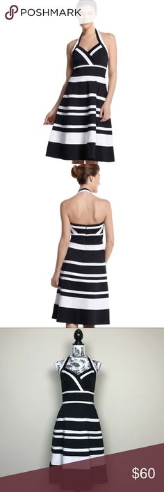 """WHITE HOUSE BLACK MARKET Striped Halter Sundress WHITE HOUSE BLACK MARKET Striped Halter Sundress  Sleeveless dress printed with pieced stripes in black and white for bold contrast. Fit and flare fit. Halter neckline with elastic back and hook and eye closure. Boned bodice with a silicone/elastic band along the back to precent shifting. Fully lined.   97% cotton, 3% spandex. Lining 100% cotton. Dry clean.  Length measures 35"""" from end of halter strap to hem. Bust measures 15"""" and waist…"""