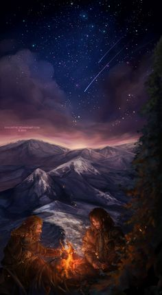 Fili and Kili Fanart. Notice the two stars falling through the sky, perhaps representing the two brothers falling in death?