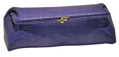 Budd Leather Framed Lizard Calf Cosmetic Case - Lilac *** Insider's special review you can't miss. Read more  : Travel cosmetic bag