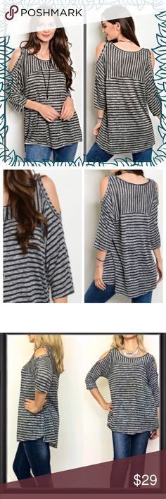 """Beautiful Striped Cold Shoulder Tunic Top SM Sexy & super fun, flowy & flirty striped cold shoulder tunic in dark navy (almost black) & gray. Slight hi low cut. Relaxed & Easy to wear with leggings or jeans & can transition from day to night in a snap. 60% rayon/40% polyester. Not see through Small will fit medium   Small (Can Fit Medium) Bust 40"""" Length 27.5"""" Tops"""