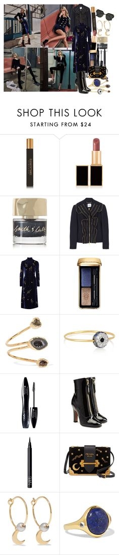 """""""Party On: Long Sleeve Dresses"""" by brownish ❤ liked on Polyvore featuring Tom Ford, Smith & Cult, Moschino, Prada, Guerlain, Dara Ettinger, Ileana Makri, Lancôme, Valentino and NARS Cosmetics"""