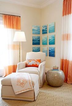 House of Turquoise: I like orange and turquoise together. Interior Design Blogs, Interior Paint Colors, Room Paint Colors, Paint Colors For Living Room, Interior Ideas, House Of Turquoise, Orange And Turquoise, Coral Blue, Blue Orange