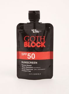 "Let your goth look stay ghostly with this goth block! The SPF 50 sunscreen provides max-emo protection, with a mineral-based formula that is water resistant and paraben free. For the love of goth, protect your skin!<div><ul><li style=""list-style-position: inside !important; list-style-type: disc !important"">SPF 50</li><li style=""list-style-position: inside !important; list-style-type: disc !important"">3 fl. oz.</li>&l..."