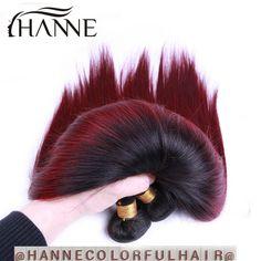 Straight Peruvian dark roots blue human hair 3 bunldes remy hair blue ombre weave 2 tone ombre blue bundles HANNE Colorful Hair