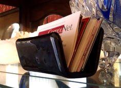 Sleek Black Business Card Holder - Fused Glass. $26.    #Black #Business-Card-Holder