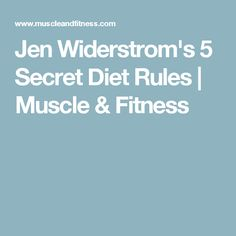 Jen Widerstrom's 5 Secret Diet Rules | Muscle & Fitness