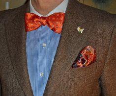 Ralph Lauren jacket, Tommy Hilfiger shirt, orange accessories