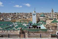 Toit et minaret de la mosquee Qaraouiyine..Fes
