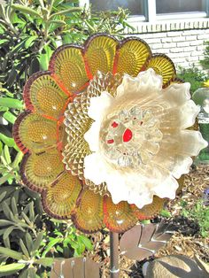 Glass Garden Flowers Yard Art Glass Plate Flower Suncatchers Home
