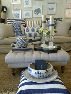 Gorgeous new navy and white homewares available at Hamptons Home Living Paddington, Brisbane.