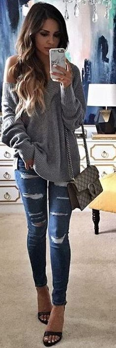 #spring #outfits Grey Off The Shoulder Knit + Navy Ripped Skinny Jeans + Black Sandals