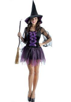 Fantasia Bruxa Sensual Adulto Halloween C/ Chapéu Original. Pronta…