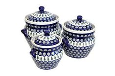 Polish Pottery Peacock Large Canister Set * Read more at the affiliate link Amazon.com on image.