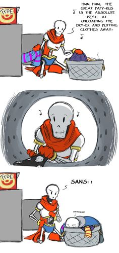 Sans and Papyrus by Zarla on Deviantart // I've done that before. It's so warm and toasty, that you just fall asleep.