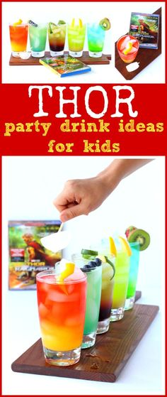 Celebrate Thor: Ragnarok on Blu-Ray with these 5 easy kid-friendly Thor Party Drink Ideas. Fun layered party punch drinks, perfect party food ideas for a kids birthday party, family movie night & more! Movie Night For Kids, Movies For Boys, Kid Movies, Disney Cocktails, Kid Drinks, Party Drinks, Party Party, Beverages, 18th Birthday Party