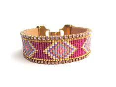 Pastel bead loom bracelet - friendship bracelet, loom bracelet, tribal bracelet, ethnic bracelet, boho cuff, geometric bracelet, aztec